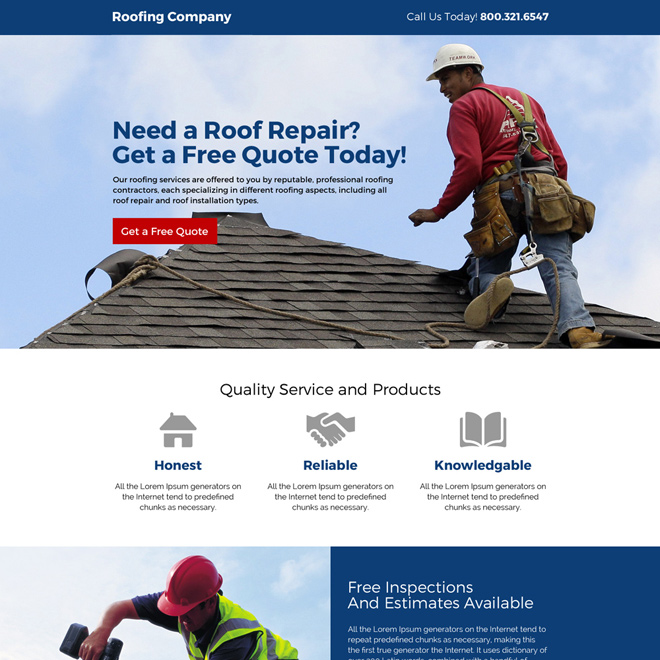 quality roofing repair and restoration service landing page design Roofing example