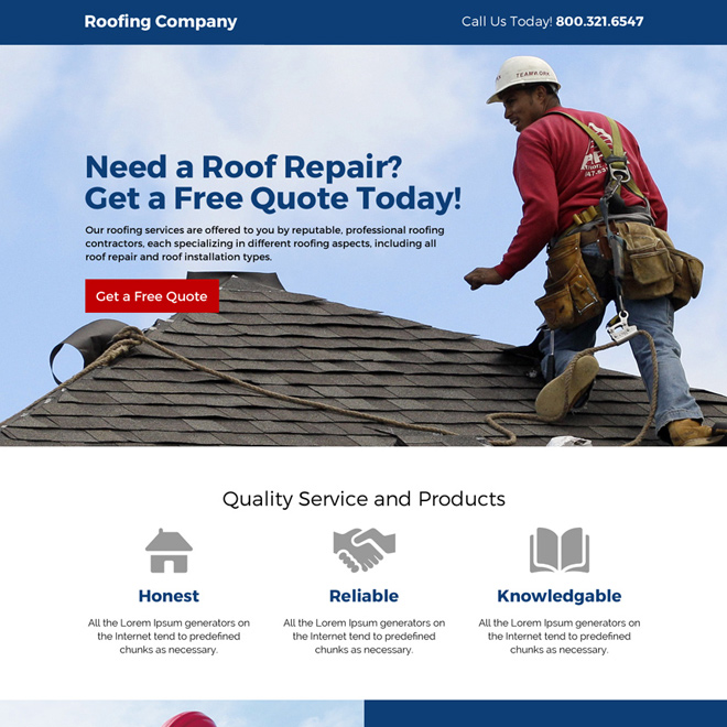 roofing company free estimates responsive landing page design Roofing example