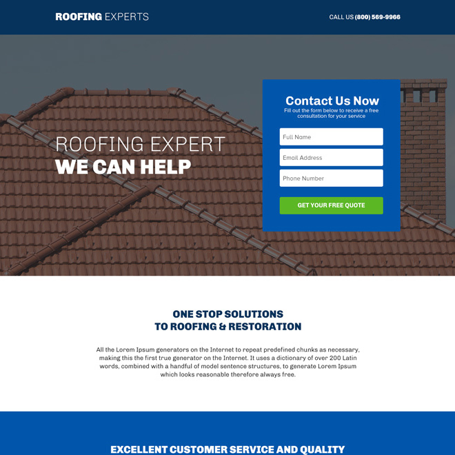 roofing experts responsive lead capture landing page design Roofing example