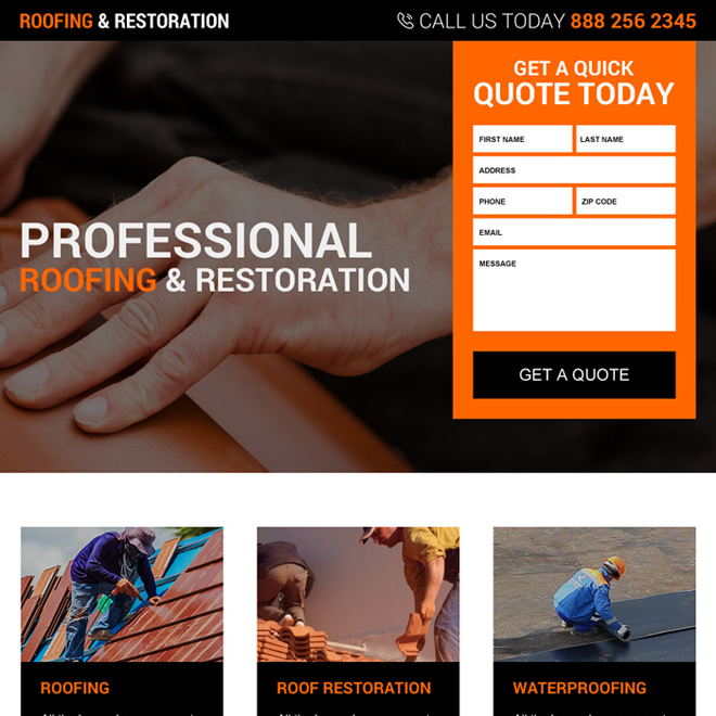 roofing and restoration services responsive landing page design Roofing example