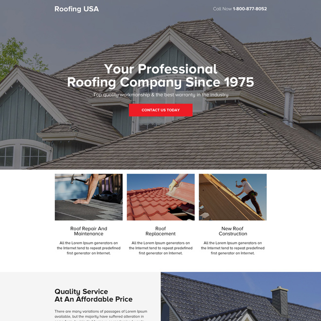 professional roofing company call to action landing page design Roofing example