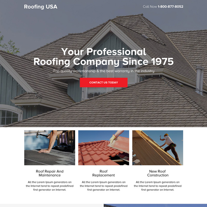 responsive roofing company clean landing page design Roofing example