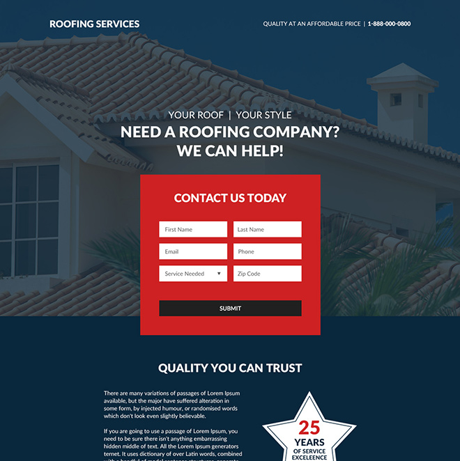 roofing company lead generating responsive landing page Roofing example