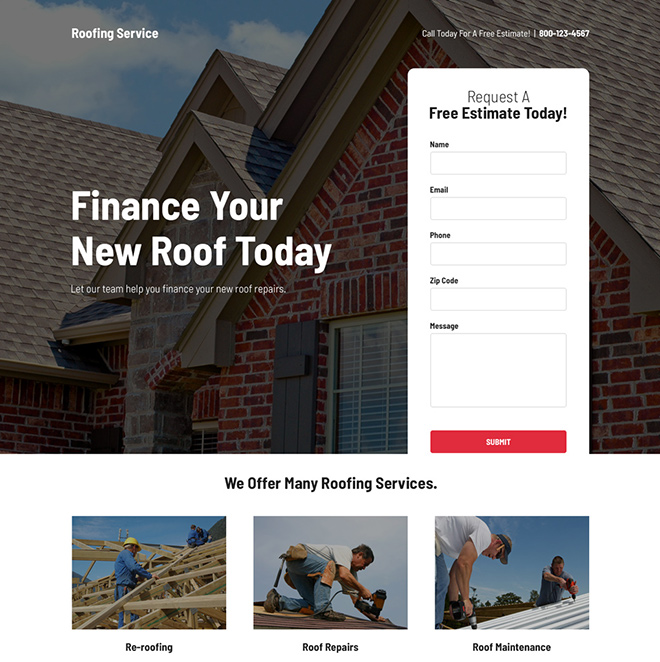 roof repair service free estimate responsive landing page Roofing example