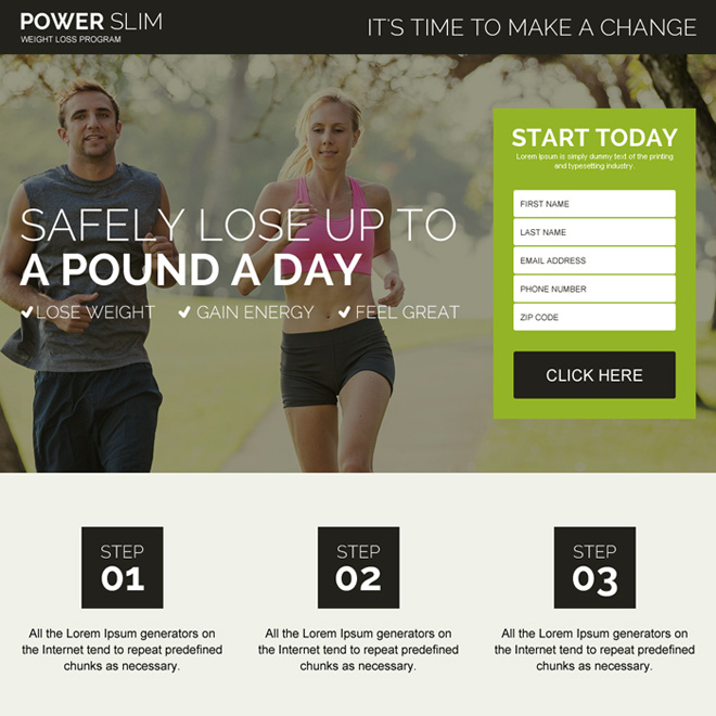 safe and natural weight loss program responsive landing page design Weight Loss example