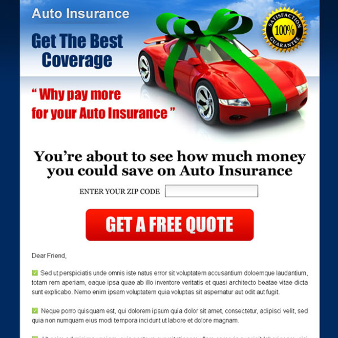 auto insurance sales page landing page design templates Sales Page example