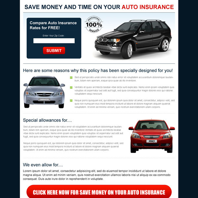 save money and time on your auto insurance zip capture landing page Auto Insurance example