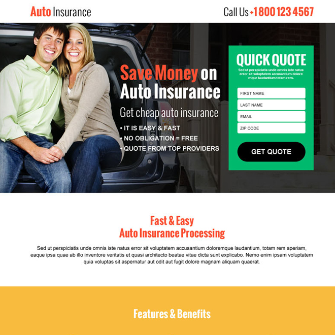 save money on auto insurance responsive landing page design template Auto Insurance example