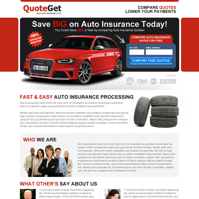 save big money on auto insurance today zip capture landing page design Auto Insurance example