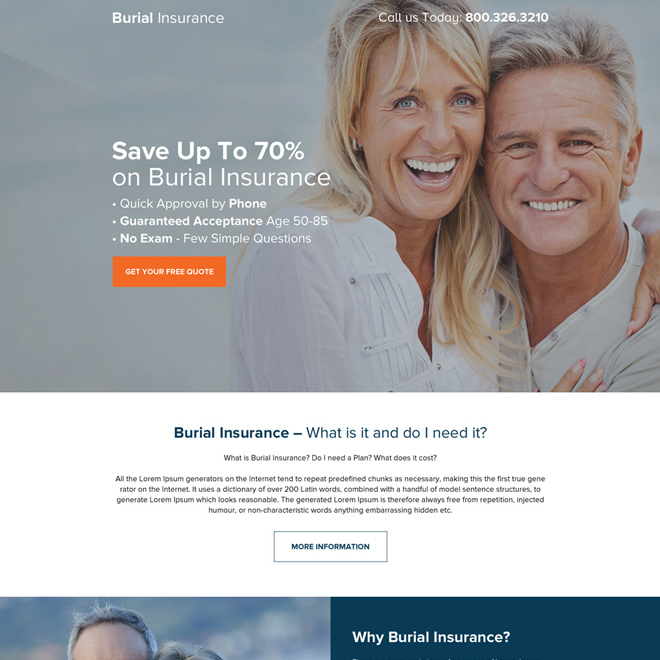 burial insurance quick approval landing page design Burial Insurance example
