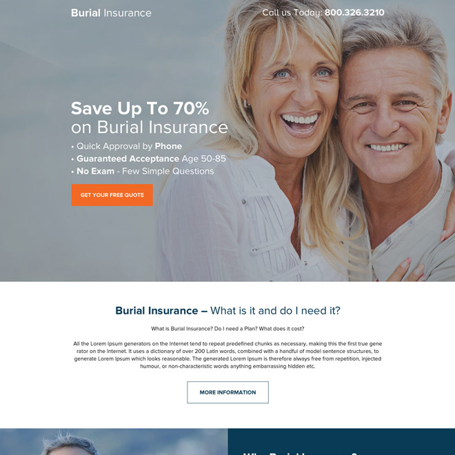 burial insurance responsive long landing page design Burial Insurance example