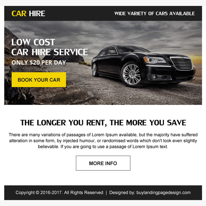 save money on car hire ppv landing page design Car Hire example