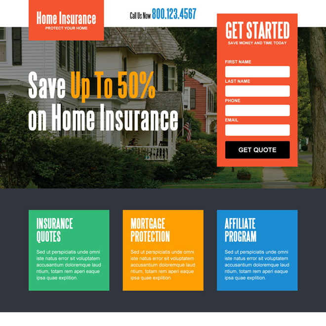 save money on home insurance lead generating squeeze page design Home Insurance example