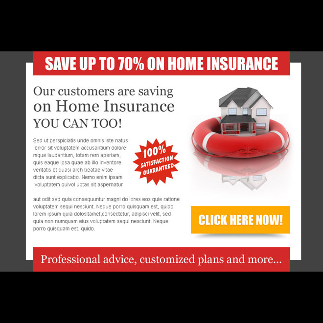 save money on your home insurance call to action optimized ppv lander design Home Insurance example