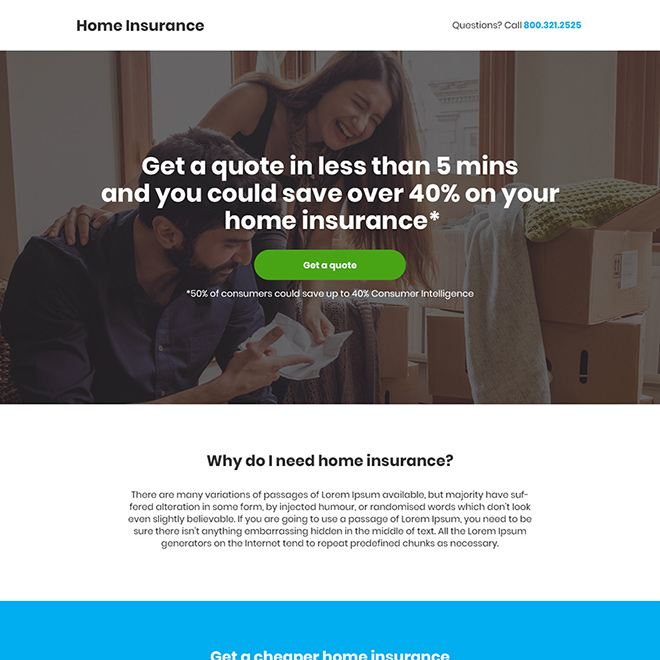 minimal home insurance responsive landing page design Home Insurance example
