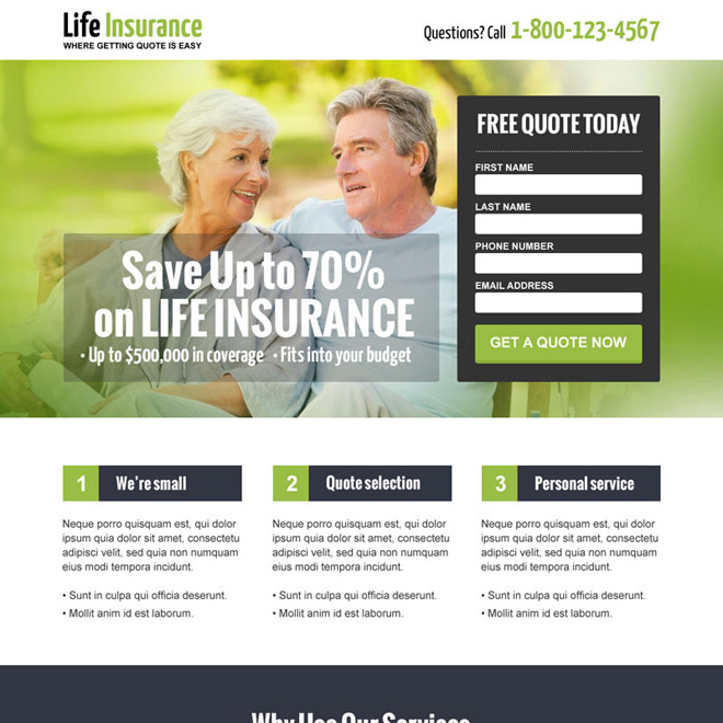 save money on life insurance responsive landing page design Life Insurance example