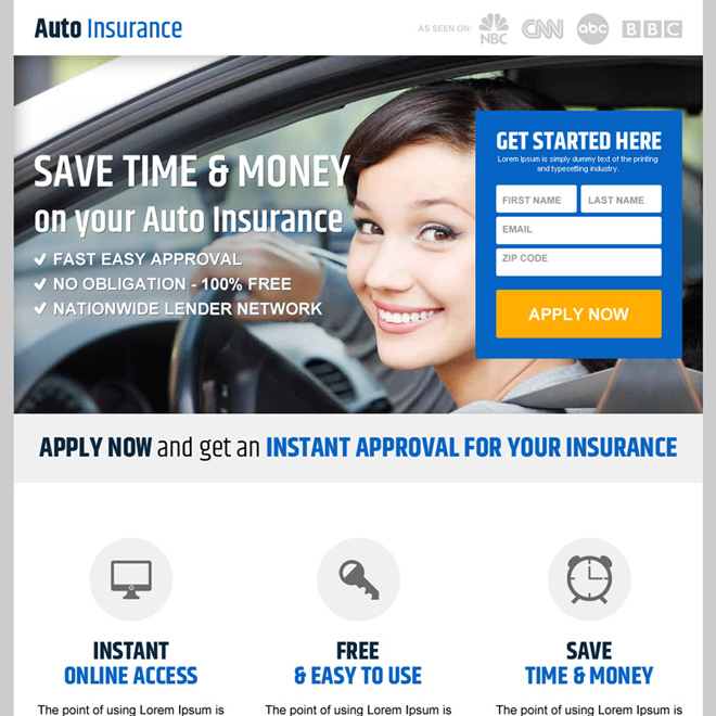save money on auto insurance responsive landing page design Auto Insurance example