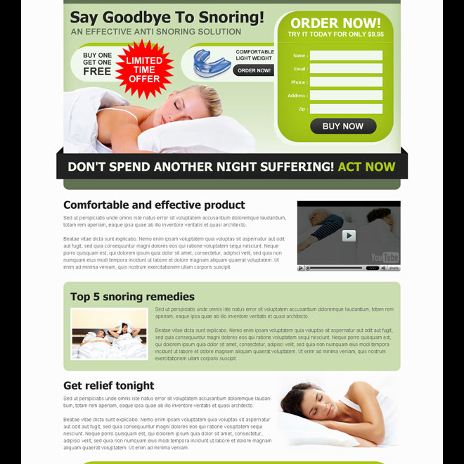 effective anti snoring product order now lead generating landing page design Anti Snoring example