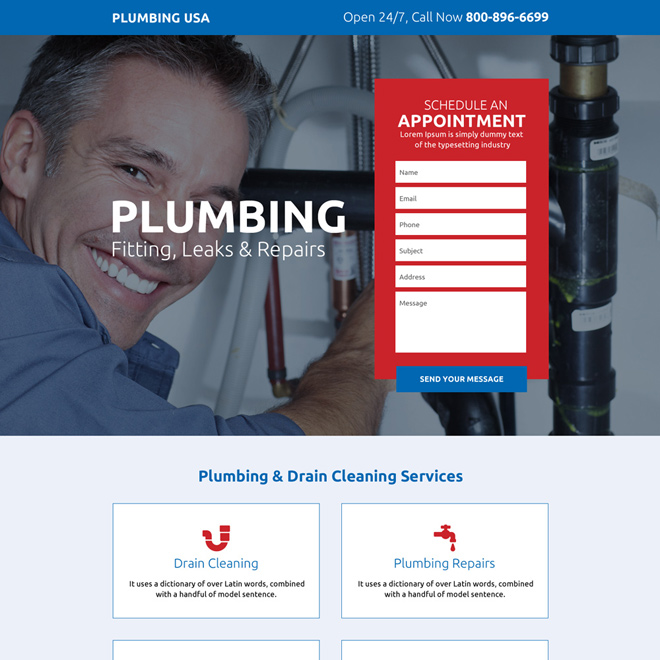 trusted plumbing professionals responsive landing page Plumbing example