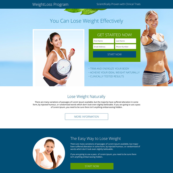 weight loss program small lead form responsive landing page Weight Loss example
