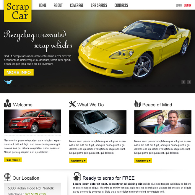 scrap car business website template design psd for sale Website Template PSD example