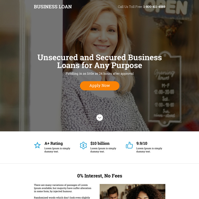 responsive secured and unsecured business loan landing page design Business Loan example