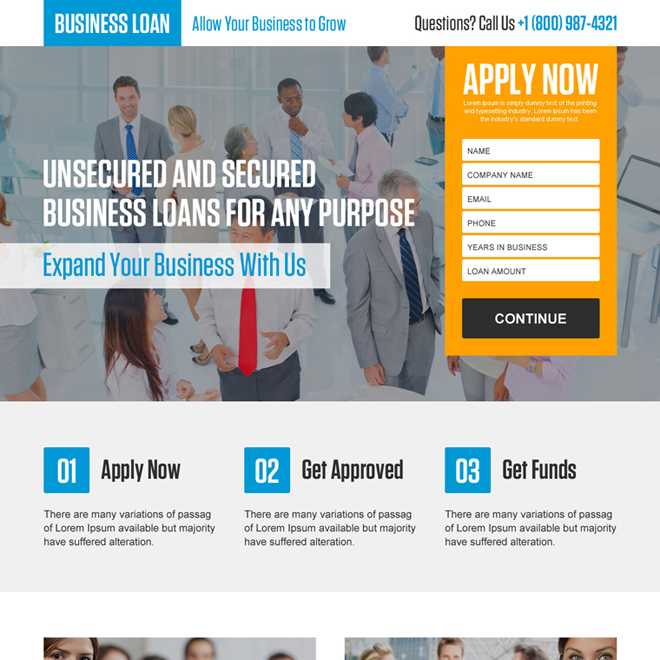 secure business loan lead capturing landing page design Business Loan example