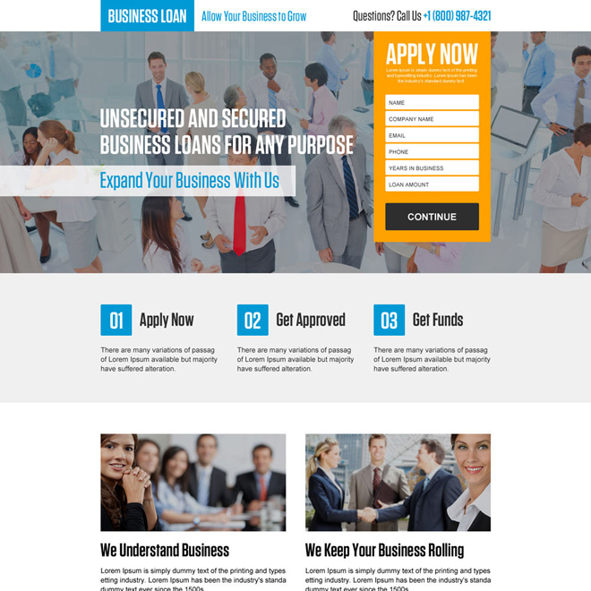 responsive secured and unsecured business loan landing page Business Loan example