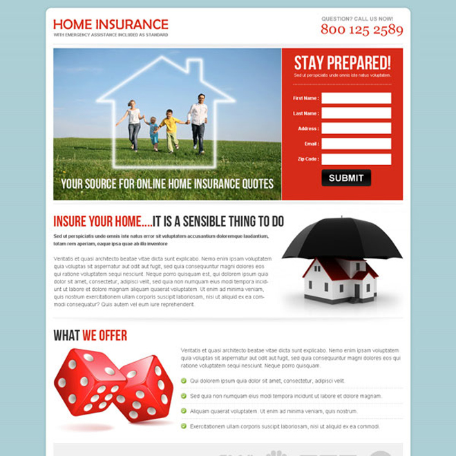 highest converting home insurance landing page design to boost your conversion rate Home Insurance example