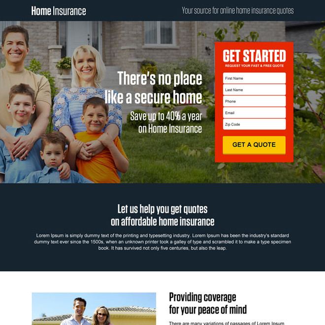 secure online home insurance free quote small lead capture landing page Home Insurance example