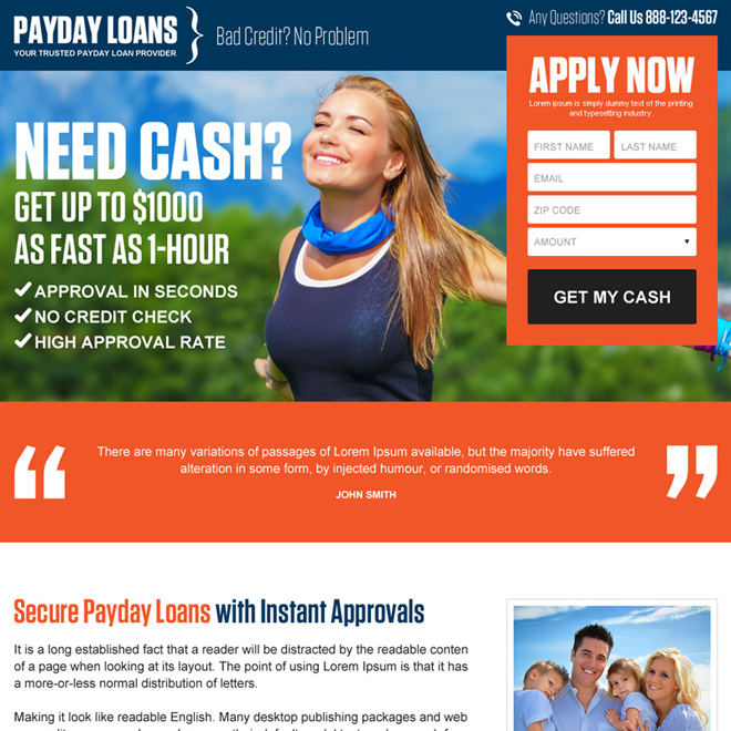 secure payday loan appealing lead gen landing page design Payday Loan example