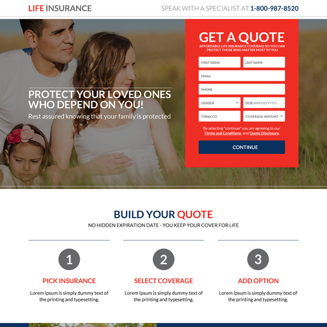 secure your family future life insurance responsive landing page Life Insurance example