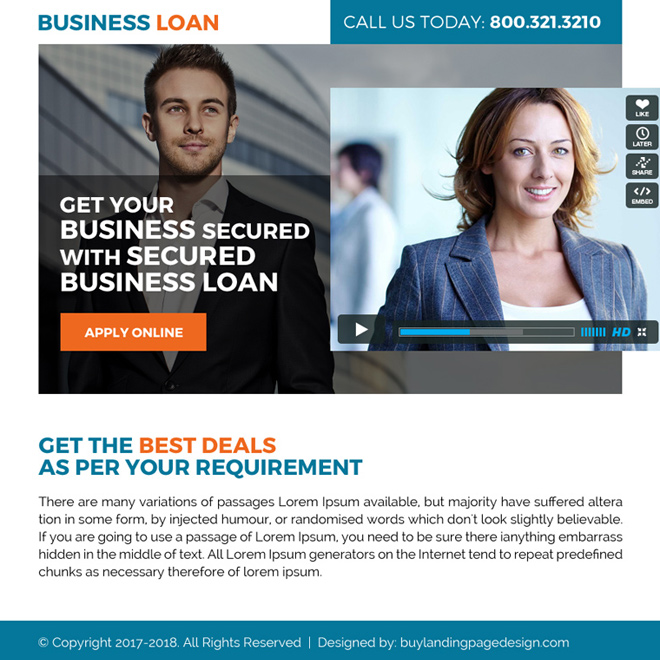 secured business loan video ppv landing page design Business Loan example