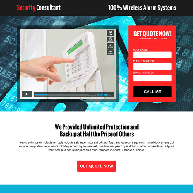 security agency consultation service lead capture video landing page design template Security example