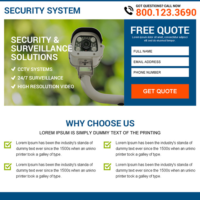 security and surveillance free quote capturing ppv landing page Security example