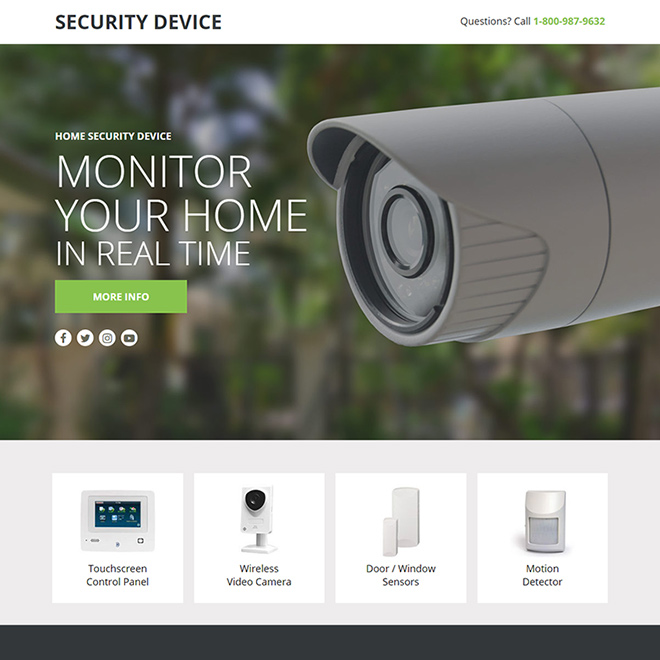 home security device responsive lead funnel design Security example