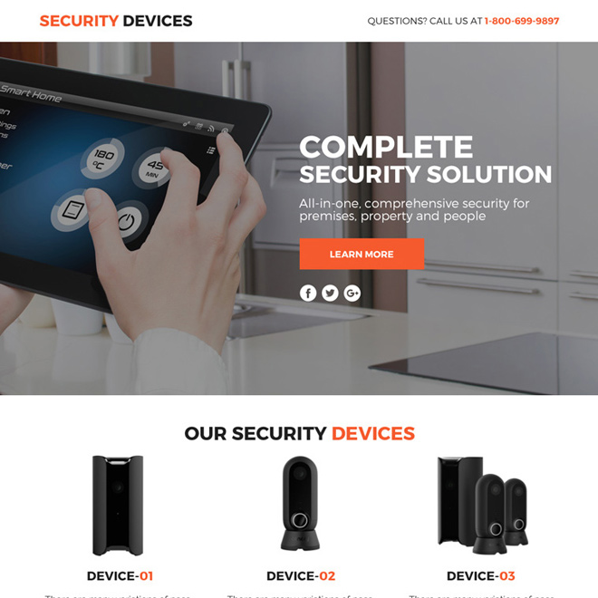 security device marketing funnel responsive landing page design Security example