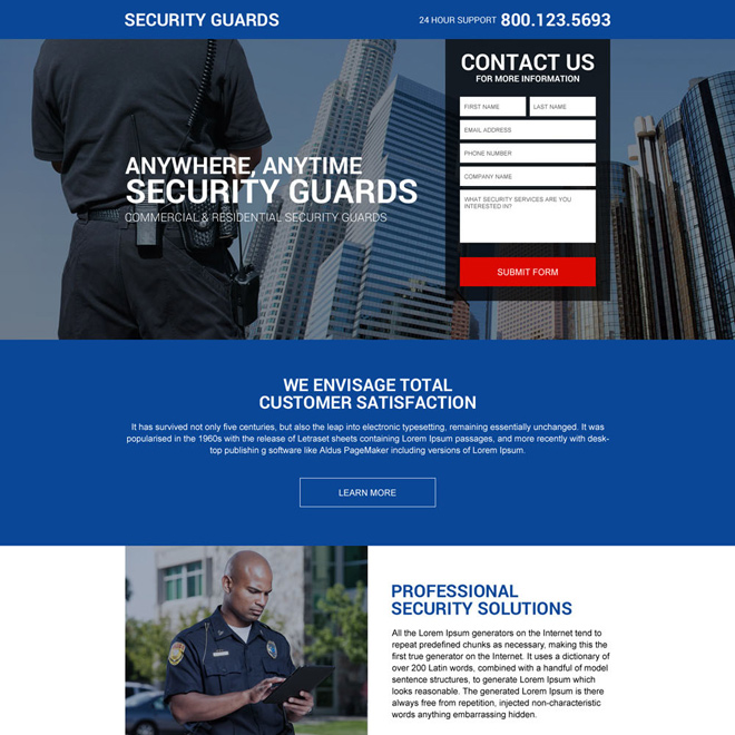 responsive security guard service providing landing page design Security example
