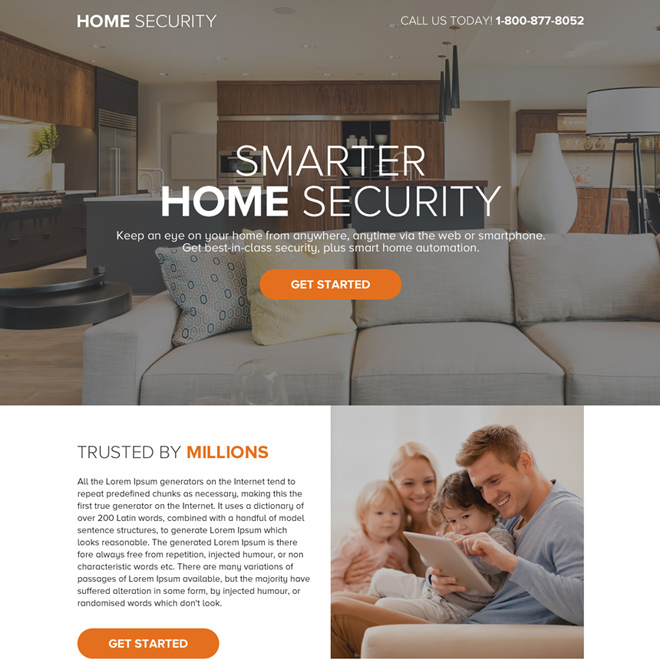 smart home security call to action landing page design Security example
