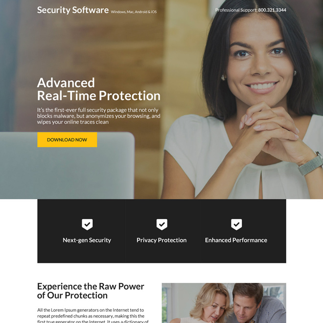security software downloading responsive landing page Software example