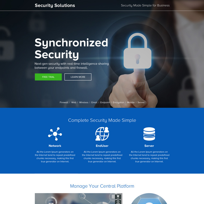 security solution strong call to action landing page design Security example