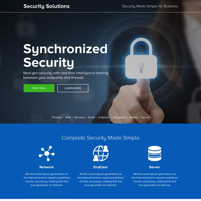 responsive security solution for business landing page Security example