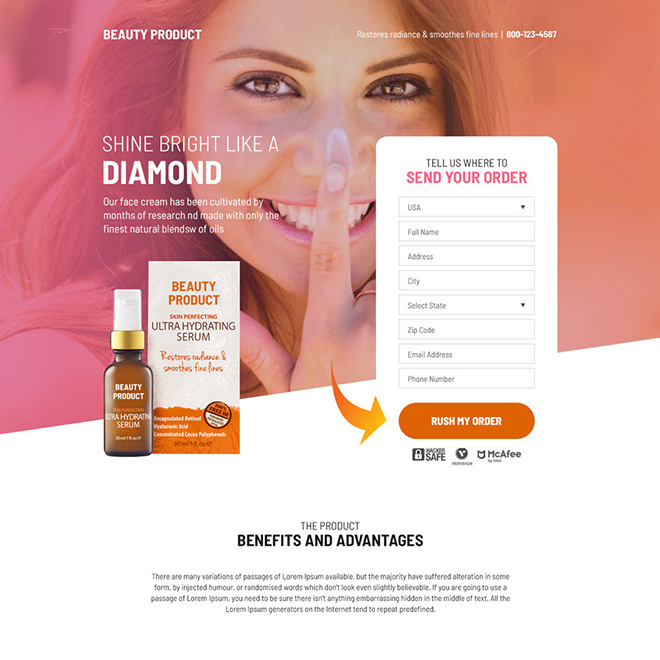 beauty product selling bootstrap landing page design Beauty Product example