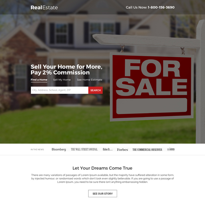 minimal real estate property listing landing page design Real Estate example