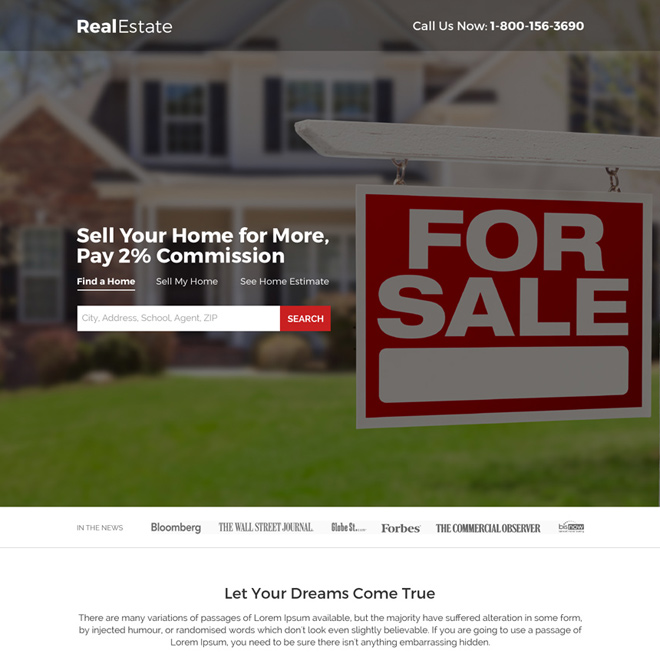 real estate for sale search responsive landing page design Real Estate example