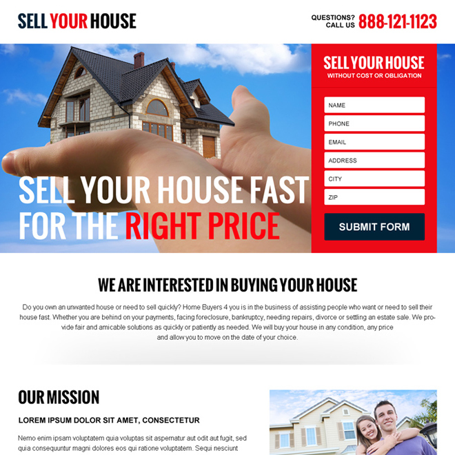 sell your house at the right price converting responsive landing page design Real Estate example