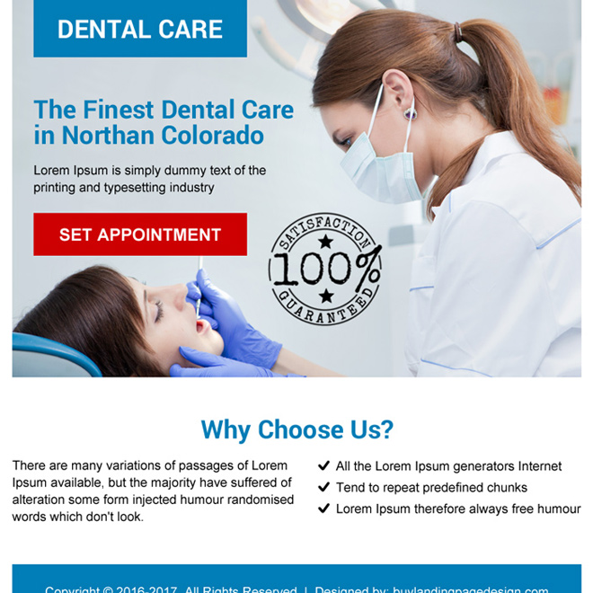 dental care call to action ppv landing page design Dental Care example