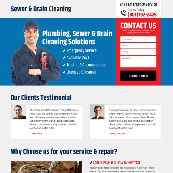 sewer and drain cleaning minimal landing page design Cleaning Services example