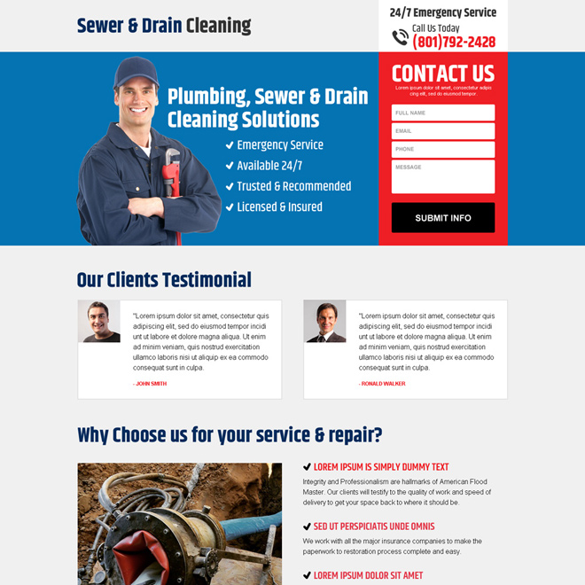 sewer and drain cleaning responsive landing page design Cleaning Services example