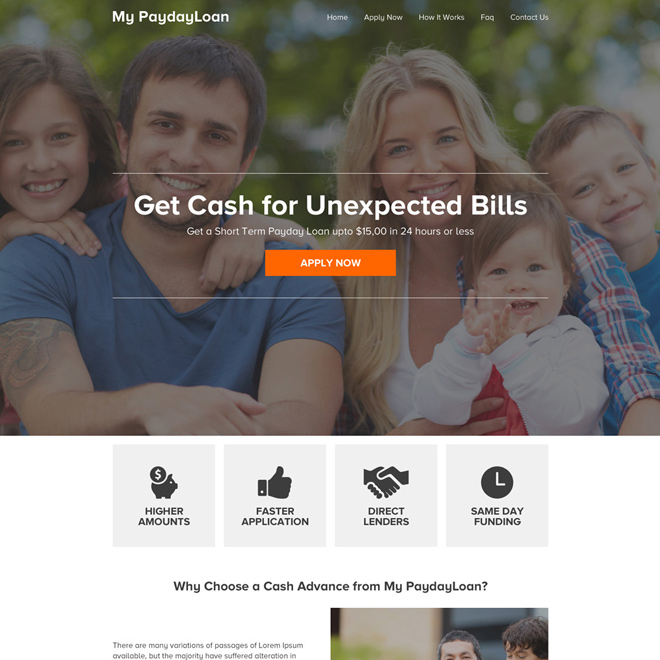 responsive payday loan online application website design Payday Loan example